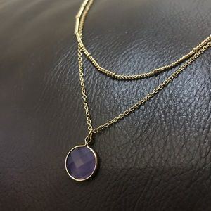 Dainty purple Pendent layered gold chain